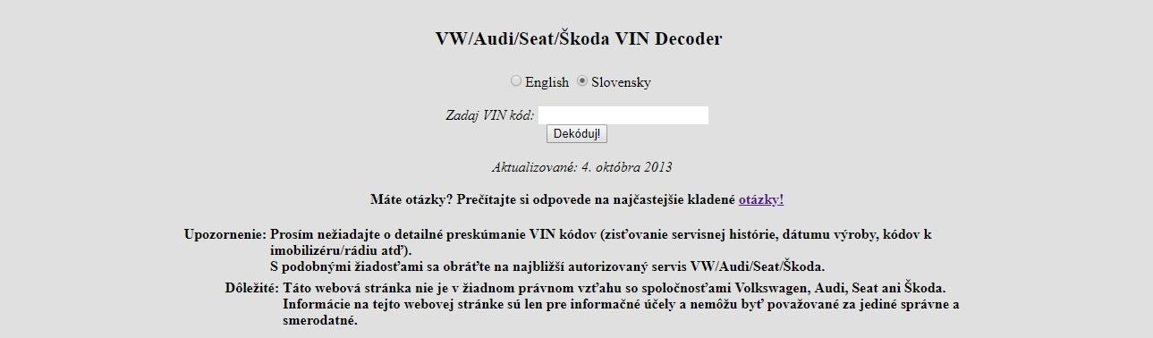 VIN kód dekoder