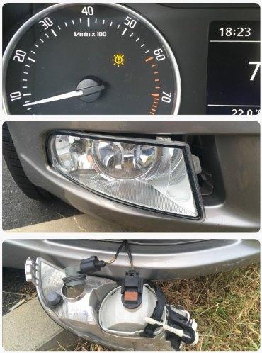 Výměna žárovky u přední mlhovky denního světla Octavia 2
