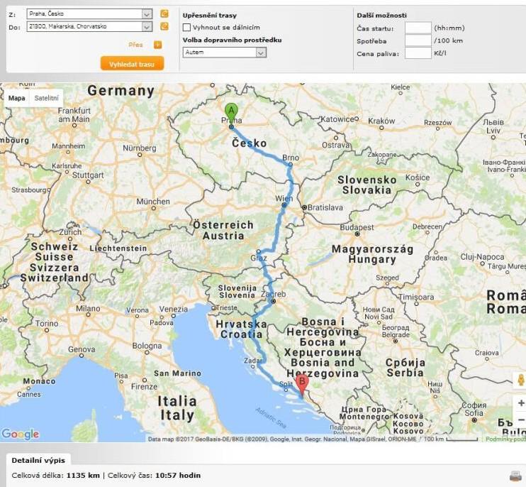 Routeplanner Škoda Auto plánovač trasy