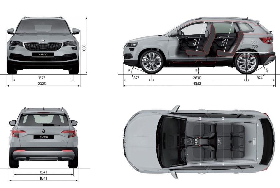 Škoda Karoq základní rozměry vozu šířka délka rozvor kufr