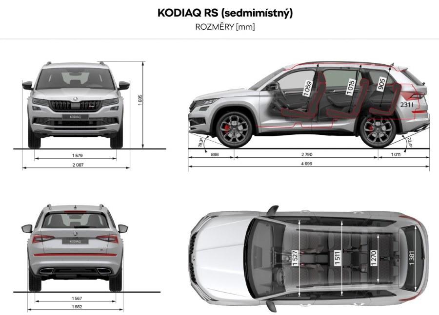 Škoda Kodiaq rozměry vozu šířka délka rozvor