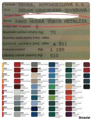 Kody barev velky technicky prukaz