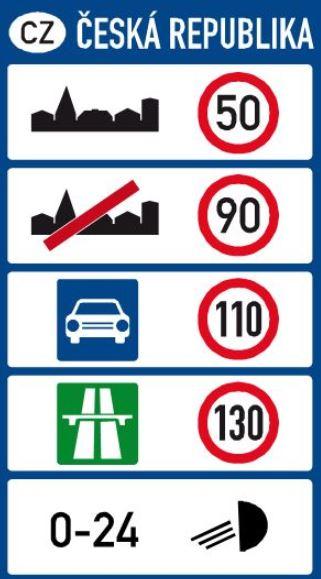 Maximální povolená rychlost ČR v Česku