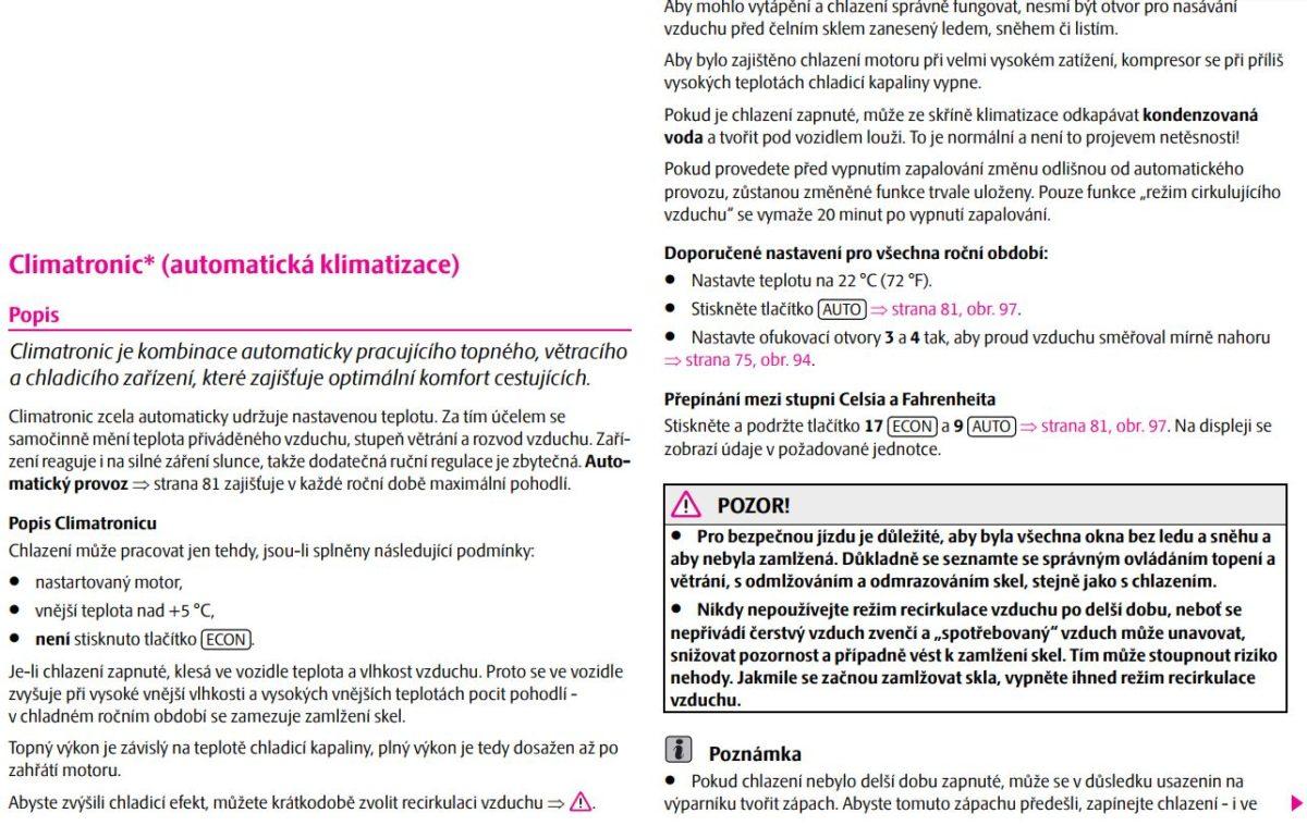 Návod Climatronic klimatizace Škoda Octavia 1. část