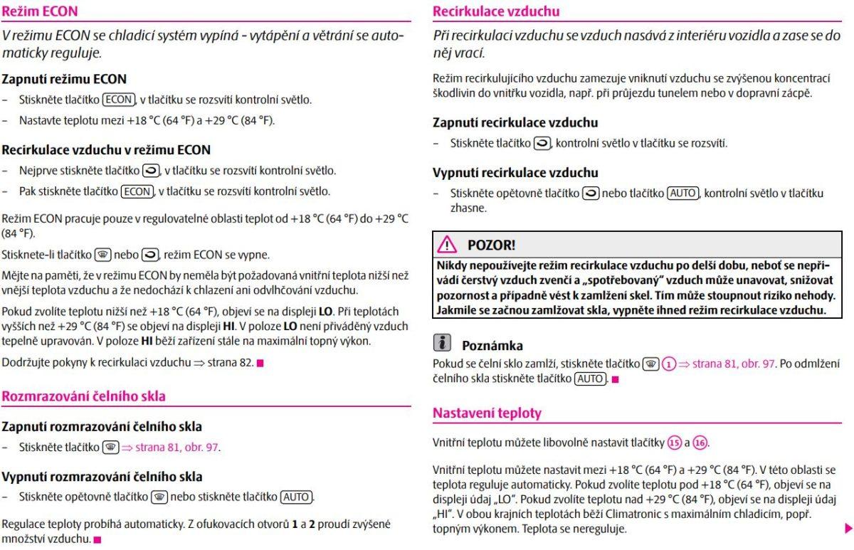 Návod Climatronic klimatizace Škoda Octavia 3 část