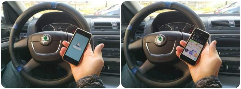 Navigace Waze v autě Škoda Octavia na mobilu Iphone