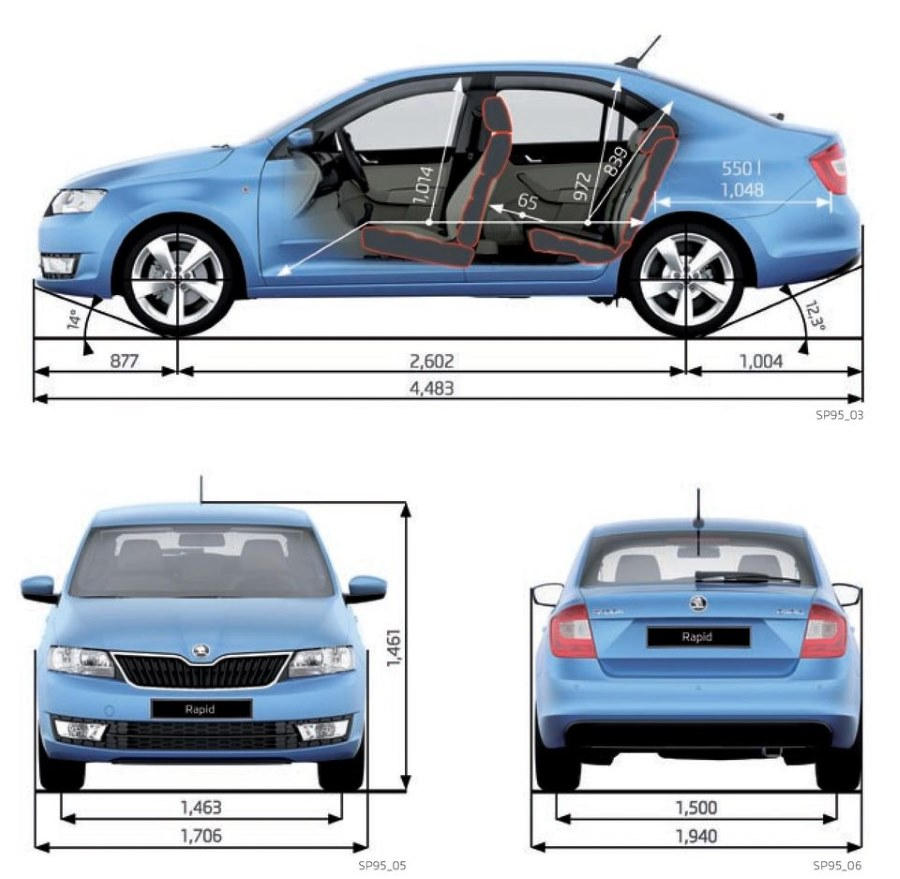 Rozměry Škoda Rapid šířka délka rozvor kufr