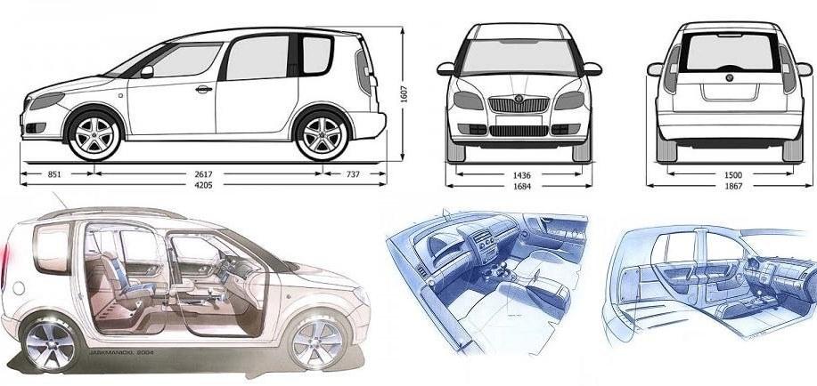 Rozměry Škoda Roomster detailní