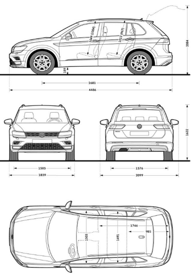 Rozměry VW Tiguan