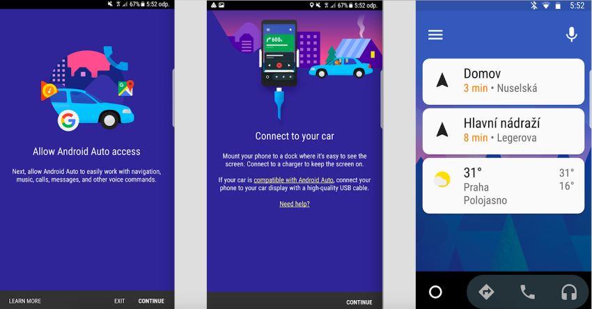 Snímek obrazovky v aplikaci Android auto APK