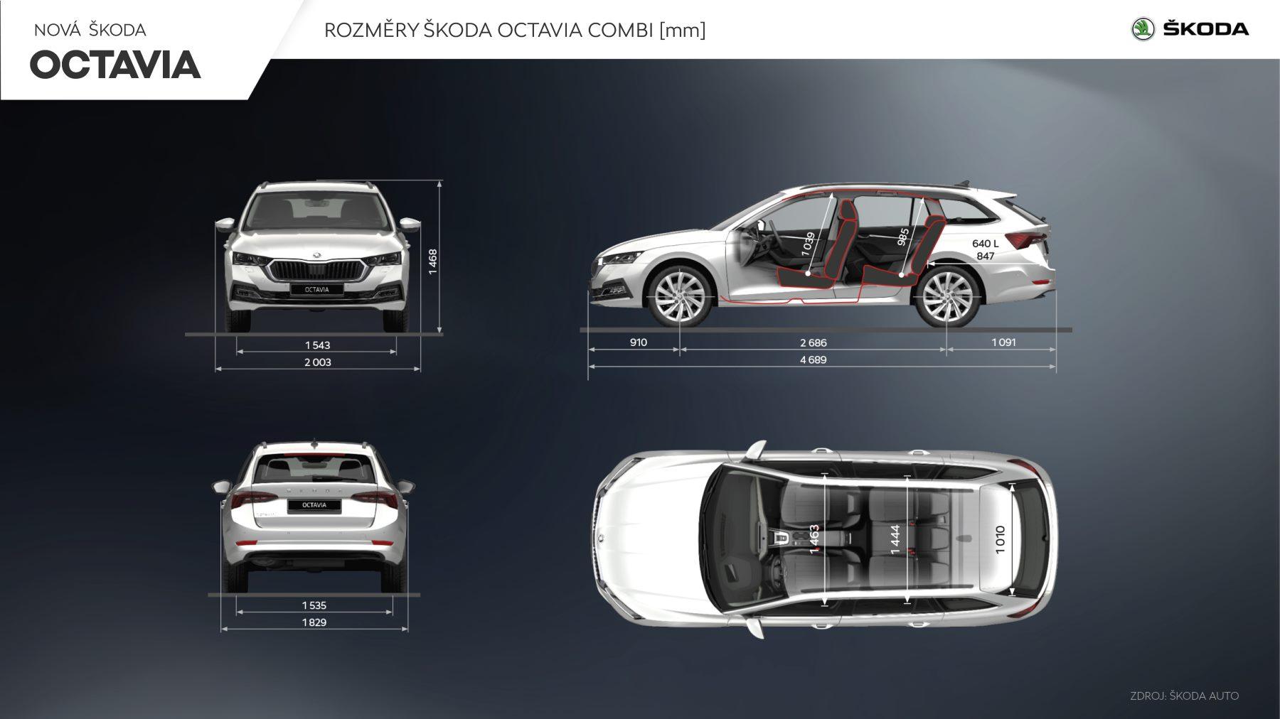 Škoda Octavia 4 Combi rozměry exteriér