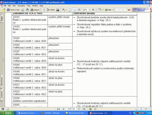 Chybové kódy Škoda VW při diagnostice na VAG nebo OBD 2 Carista