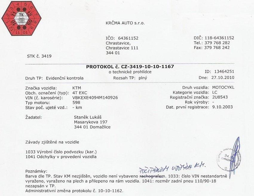 Evidenční kontrola vozu vzor protokolu