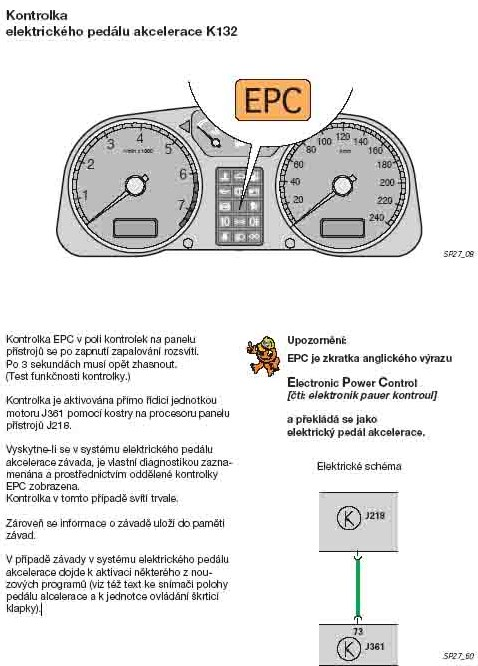 Kontrolka EPC co dělat aby nesvítila electronic power control