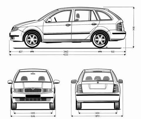 Rozměry Škoda Fabia 1 Combi