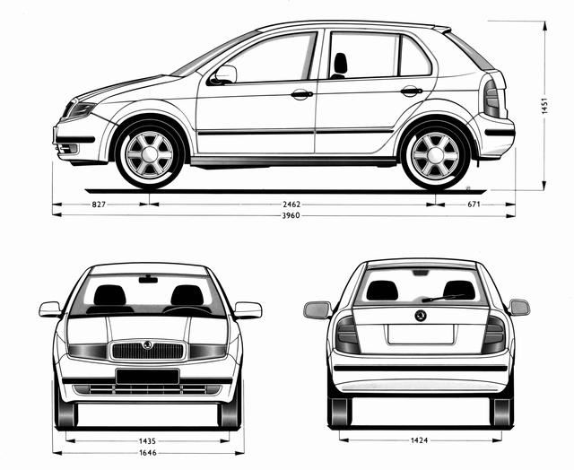 Rozměry Škoda Fabia 1