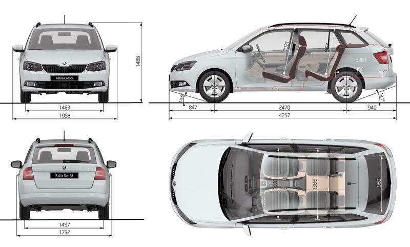 Rozměry Škoda Fabia 2