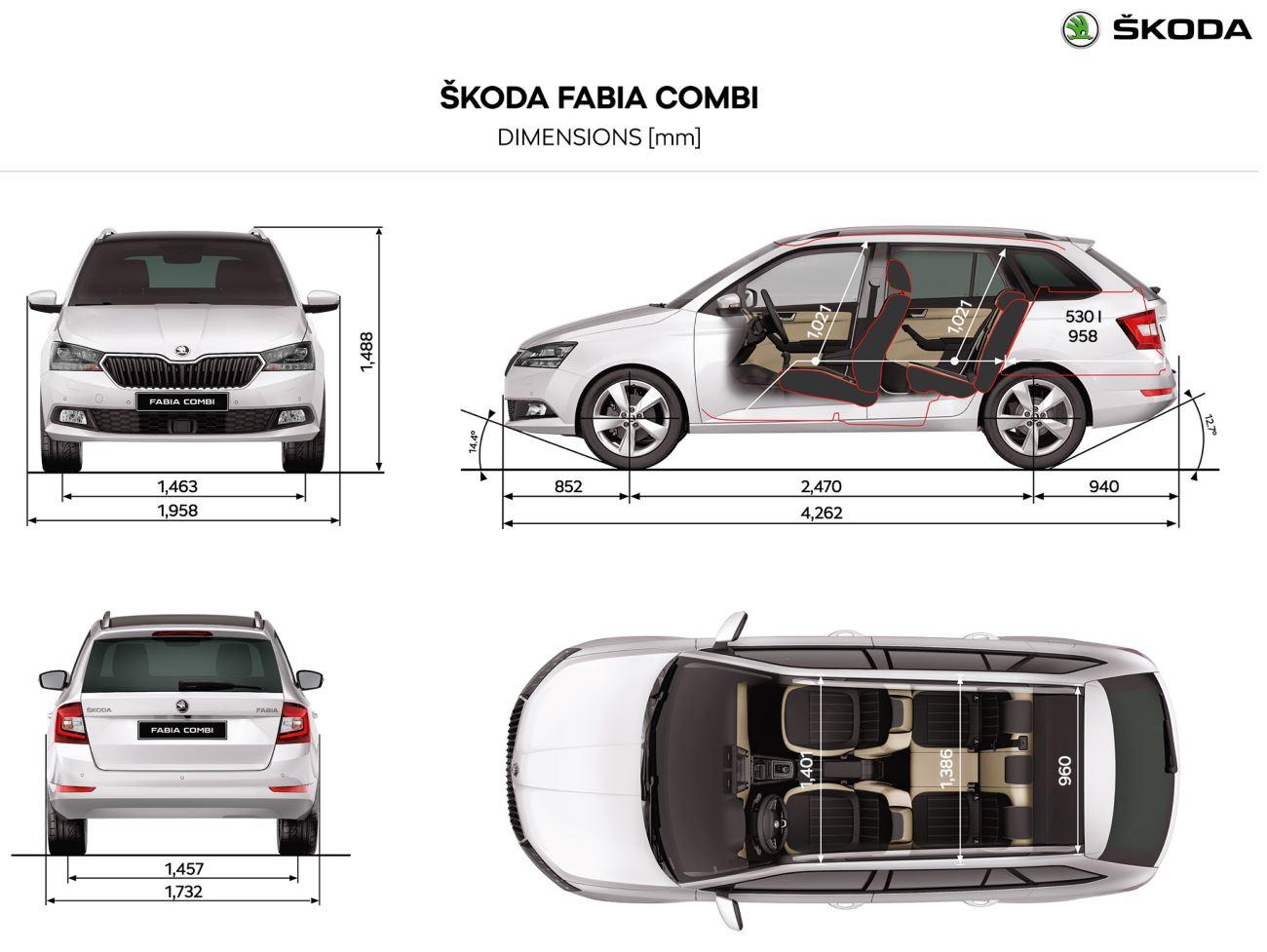 Rozměry Škoda Fabia Combi 3 generace