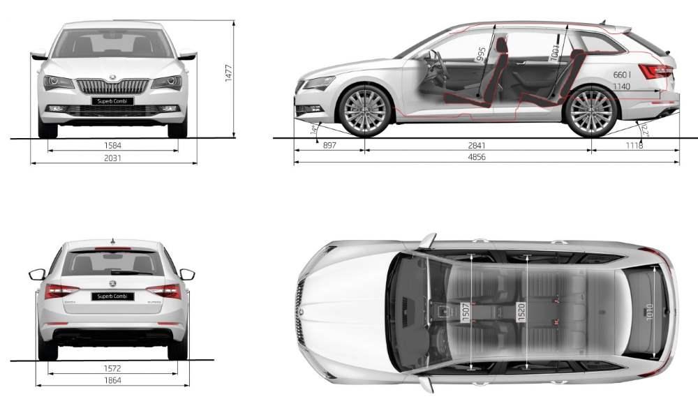 Škoda Superb Combi rozměry délka šířka výška vozu