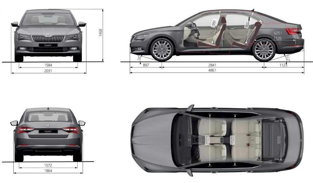Škoda Superb liftback rozměry délka šířka výška vozu