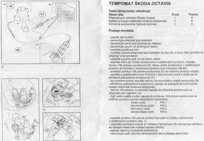 Tempomat Škoda Octavia montáž