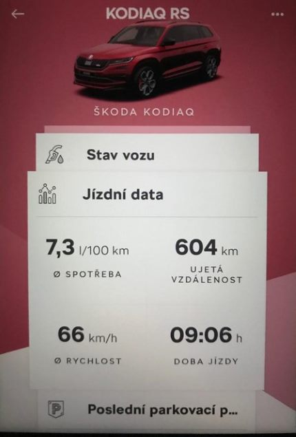 Konektivita Škoda Connect Kodiaq RS jízdní data