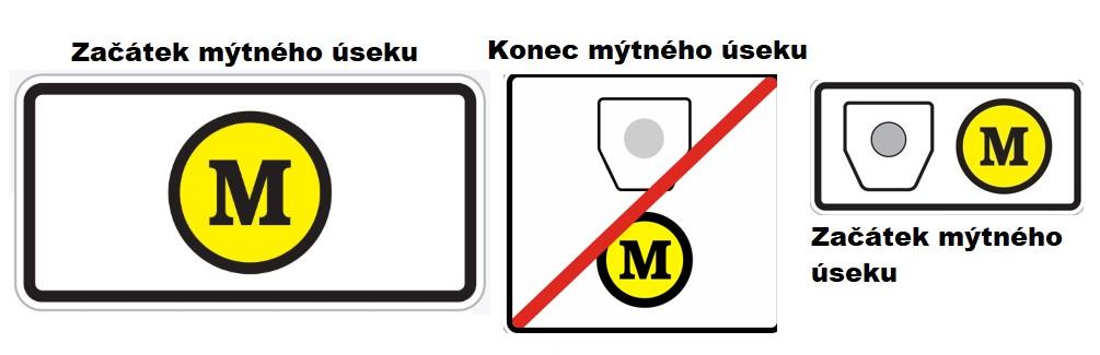 Dopravní značka M mýtné začátek a konec