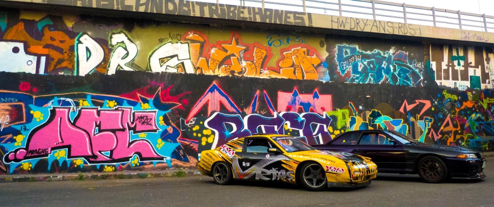 Nejlepší místo na focení s graffiti na parkovišti u Ministerstva zemědělství