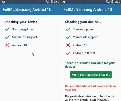 MirrorLink pro Samsung Android auto