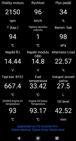 Car Scanner ELM OBD2 funkce v češtině