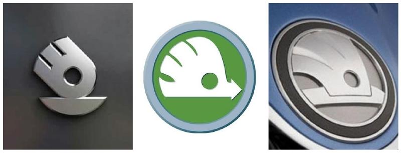 tři různé návrhy nového loga Škoda Auto