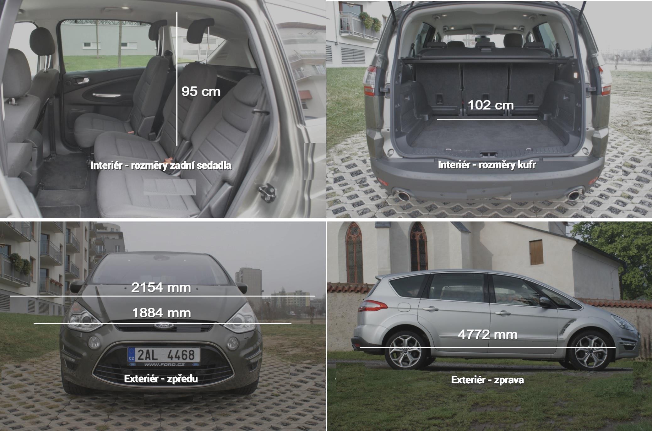 Ford S-Max rozměry a objem kufru