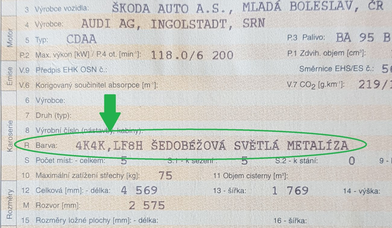 Kód barvy Škoda Octavia podle VIN ne podle technického průkazu