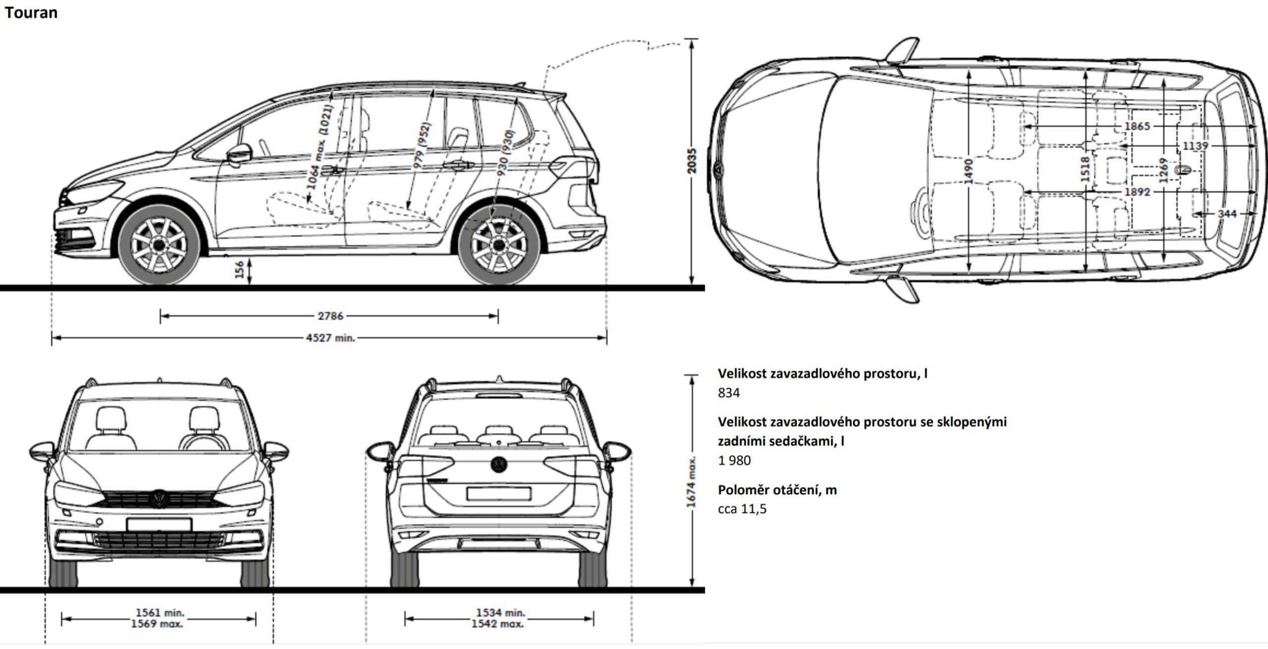 Volkswagen Touran VW rozměry rozvor výška délka šířka kufr