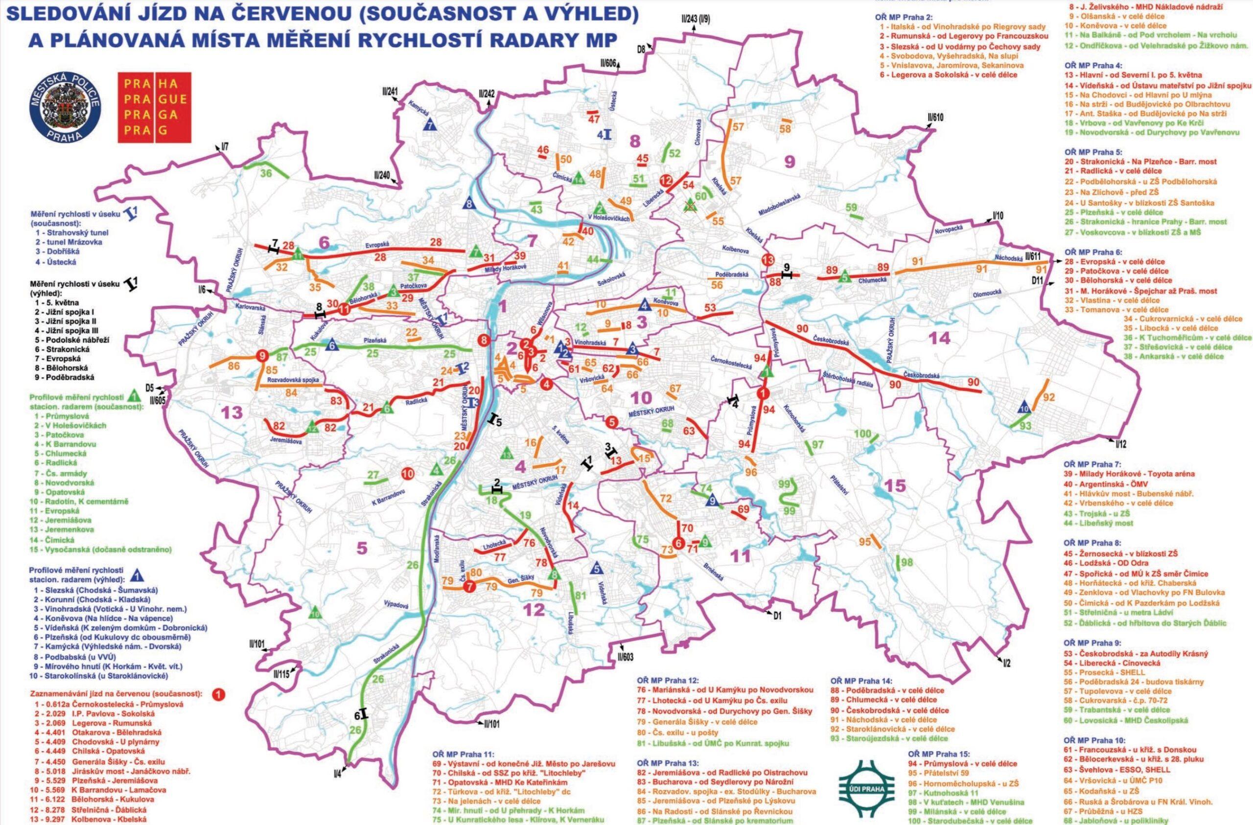 Mapa radarů měření rychlosti v Praze